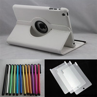 Wholesale Ipad Mini Smart Case Stylus - HOT 360 Rotating Smart Cover for iPad Mini Leather Case with Screen Protector & Stylus Pen with Stand Holder Smart Cover for iPad Mini