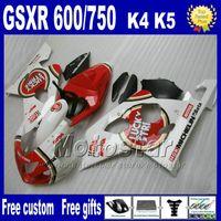 Wholesale Gsxr K4 - 7 gifts freeship Fairing kit for SUZUKI GSXR 600 750 2004 2005 K4 fairings GSX-R600 04 GSX-R750 05 white red LUCKY STRIKE motobike sets Fb95
