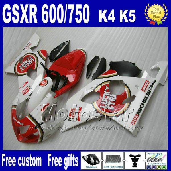 Kit carene per SUZUKI GSXR 600 750 2004 2005 carenature K4 GSX-R600 04 GSX-R750 05 set da moto LUCKY STRIKE bianco rosso Fb95