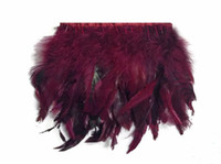 Wholesale rooster feathers free shipping resale online - yards Bungundy Coque Rooster feather trimming BURGUNDY Chinchilla Rooster Feathers Trim for Costume