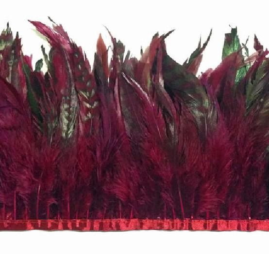 Gratis frakt 10Yards / Bungundy Coque Rooster Feather Trimming Burgundy Chinchilla Rooster Feathers Trim för kostym
