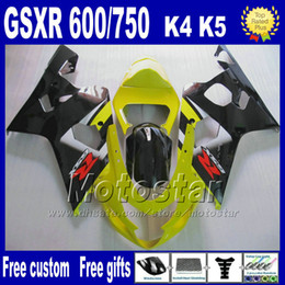 gsx r fairing NZ - Motorcycle fairings for SUZUKI GSXR 600 750 2004 2005 yellow black ABS plastic fairing body kits K4 GSX-R 600 750 04 05 Hj4
