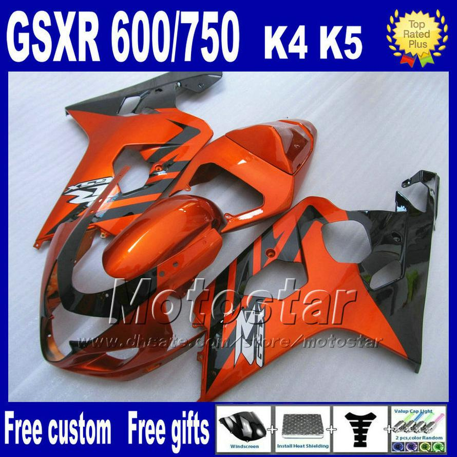 7 gifts motorcycle fairings for SUZUKI GSXR 600 750 2004 2005 brown black ABS plastic fairing K4 GSX-R 600/750 04 05 Hj7