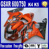 Wholesale Gsxr Plastics - 7 gifts motorcycle fairings for SUZUKI GSXR 600 750 2004 2005 brown black ABS plastic fairing body kits K4 GSX-R 600 750 04 05 Hj7