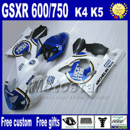 gsx r fairing NZ - Motorcycle fairings for SUZUKI GSXR 600 750 2004 2005 white blue LUCKY STRIKE plastic fairing bodykits K4 GSX-R 600 750 04 05 Hj10