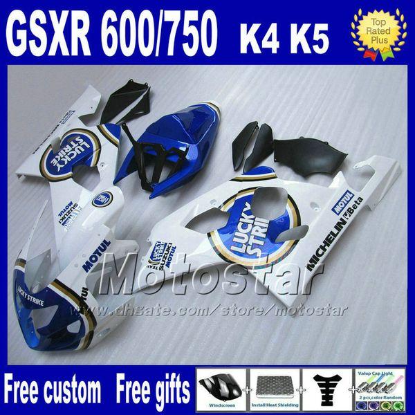 Motorcycle fairings for SUZUKI GSXR 600 750 2004 2005 white blue LUCKY STRIKE plastic fairing bodykits K4 GSX-R 600/750 04 05 Hj10