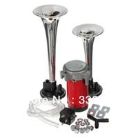 Wholesale Trumpet Horn Speaker - Chrome Loud 12V 135dbTwin Trumpet Air Horn & Compressor Set Kit Car Boat Truck Van Free shipping