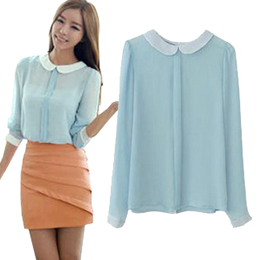 Women's Cute See Through Solid Tops Peter Pan Collar Shirt Lady's ...