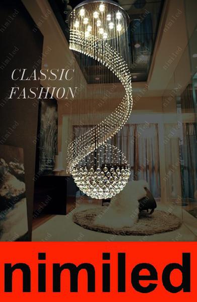 nimi270 D40/50/60/70/80cm Modern Penthouse Floor Living Room Rotation Chandelier Staircase LED Light Crystal Pendant Lamp Lighting Droplight
