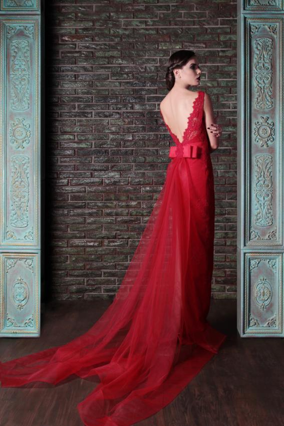 Sıcak Satış Mermaid 2014 Elie Saab Ekip Sweep Tren Kırmızı Dantel Abiye Backless Yeni Geliş Ucuz Abiye giyim Ücretsiz Kargo