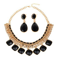 Wholesale Bubble Resin Necklace - Ladies Resin Crystal Shell Bubble Bib Necklace Earrings Statement Choker Jewelry Set for Party [JN06127B,JE06112]