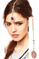 Wholesale Headpieces China - 2014 Hot Sale Ladies Crystal Eye Drop Jewelled Stone Hair Clip Tikka Indian Headpiece Hair Jewelry Barrette Clips6pcs lot [JH04006*6]