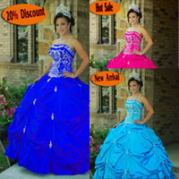 Wholesale Strapless Organza Embroidery Beaded Princess - 2016 Princess Ball Gown Quinceanera Dresses with Beaded Embroidery Applique Blue Strapless Floor-Length Taffeta Party Prom Gowns