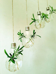 Wholesale Hanging Glass For Air Plant - Wholesale - 4PCS fashion light bulb shape glass hanging terrarium bulb vases,air plant succulent terrarium for home decor,green gifts