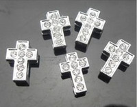Vente en gros 100pcs / lot 8mm strass Cross slide charm Fit pour 8mm bracelet bracelet collier animal bijoux