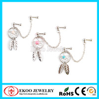 chaîne double boucle d'oreille achat en gros de-Hot Selling Double Gemmed Chain Linked Dangle Dream Catcher Earrings Livraison gratuite