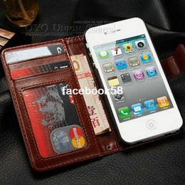 Wholesale Durable Screen Protector - Durable Wallet PU Leather case for iphone 4 4s with Stand + 2 Card Holders sleep Grain free screen protectors as gift, 8 colors