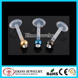 Wholesale Plastic Bio Balls - Bio Flexible Internally Threaded Labret with Anodized Gem Ball Plastic Lip Rings Free Shipping