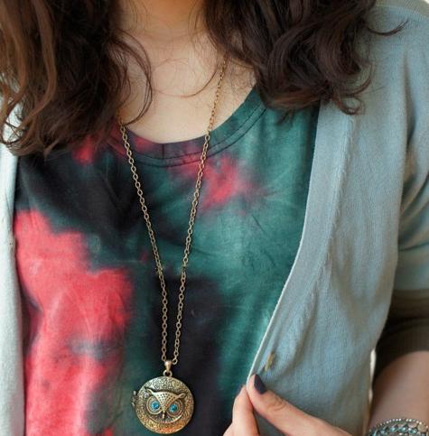 الأزرق العين البومة قلادة القلائد جولة إطار الصورة مربع المناجد خمر سترة سلسلة طويلة البرونزية نحت ذكريات سحر المناجد مجوهرات