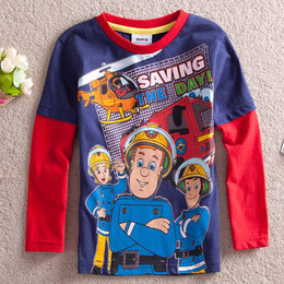 bombeiro camiseta Desconto Bombeiro Sam Salvando O Dia 100% algodão Meninos de Manga Longa camisetas Crianças roupas de bebê camisa primavera outono desgaste
