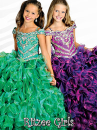 Wholesale Spaghetti Straps Organza - 2014 New!!! Glamorous Spaghetti Strap Girls Pageant Dresses Ruffles Beaded Sequined Little Girls Pageant Dresses Ball Gown Party Gown HT069