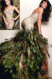 Wholesale Sheath Bow Dress - 2016 Goregeous Brillant Peacock Feather High Slitted Prom Dress Sweetheart Hi-lo Sheath Party Evening Dress With Feather&Sequins