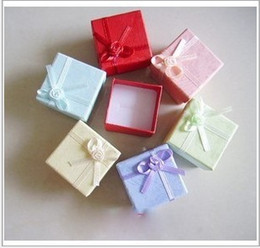 Wholesale Wholesale Earrings Boxes - Wholesale 100pcs lot Assorted Colors Jewelry Sets Display Box Necklace Earrings Ring Box 4*4 Packaging Gift Box Free Shipping