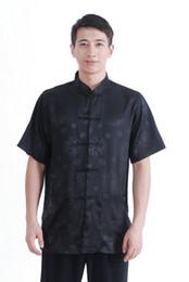 Shanghai Story Schwarzes chinesisches traditionelles Hemd chinesisches Kung-Fu-Hemd-Stehkragen Faux-Seidenhemd für Männer von Fabrikanten
