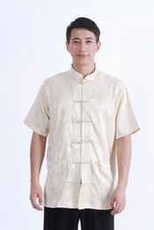 Argentina Historia de Shanghai Color beige camisa china para hombre camisa tradicional china ropa de kung fu chino mandarín camisa de satén para hombre Suministro