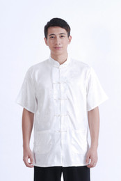 Wholesale Mens Satin Casual Shirts - Shanghai Story White M0015 chinese shirt mens chinese traditional shirt chinese kung fu clothing mandarin collar shirt for men