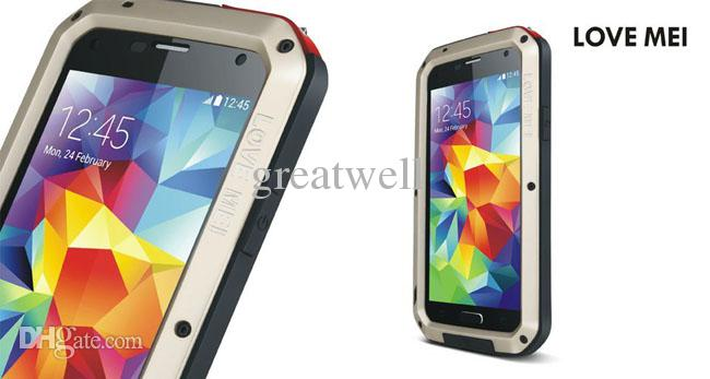 LOVE MEI Metal Aluminum Case Protection Cover Gorilla Glass for Samsung galaxy S3 S4 S5 S6 Note 3 4 Waterproof Shockproof Retail box