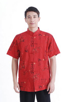 Wholesale Traditional Chinese Cotton Shirt - Shanghai Story Red Kungfu Shirt for men chinese shirt man chinese traditional mandarin collar shirt 100% cotton M0023