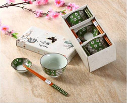 ceramic painting designs Coupons - Japanese Bowl Set for 2 including Porcelain Rice Bowls Chopsticks Snack Dishes Hand-painted Sakura Cherry Blossom Design