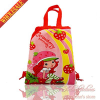 Wholesale Schools Bags Strawberry - Wholesale 12Pcs Strawberry Shortcake Kids Drawstring Backpack Bags Handbags,Kids School Shopping Bags,34*27cm,Girls Best Gift