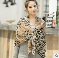 Wholesale Scarf Leopard Color - Leopard Scarves Chiffon Gery Pink Brown Color Mix 2014 New Arrivals 10PCS Lot Free Shipping 130408J11