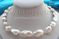 "Wholesale Keshi Pearl White - AAA genuine 18"" Natura23- 26mm White Reborn Keshi Pearl Necklace 14k"