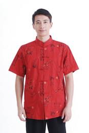 Camisa tradicional china roja online-Envío libre 2015 caliente de la venta de los hombres rojos Tang chino tradicional superior de la ropa 100% camisa de algodón chino tradicional camisa kung fu camisa M0023