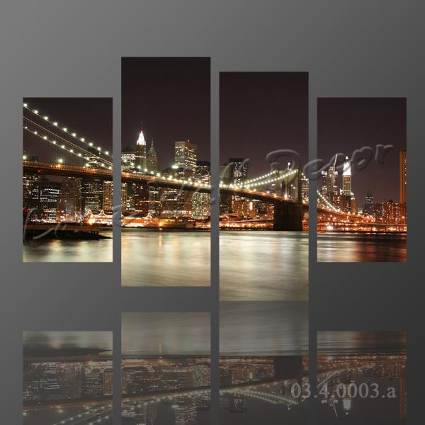Large Framed Wall Art New York City Landscape Sunset: 2018 No Frame Canvas Only New York City Bridge At Night