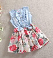 Wholesale Hot Girs - Hot Sell Korean Style Children Leisure Sleeveless Cowboy Dress Girs Cute Ruffle Demin Dresses Kids Lovely Pleated Printing Vest Dressy I0370