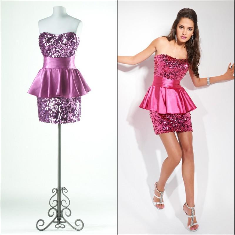 67fc6d815a Sexy Dress Purple Paillette Miniskirt Tube Top Bandage Short Design ...