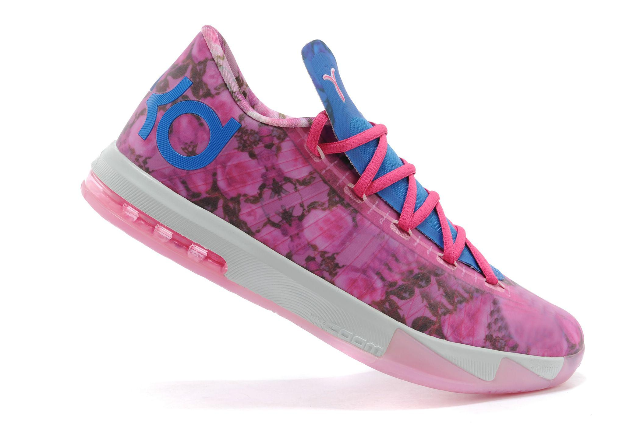... womens zoom kevin durant kd vi 6 supreme aunt pearl floral pink blue  colorway basketball shoes 568c010e9367