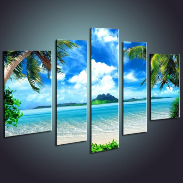 Wholesale Hand painted Landscape 3D The Beach Seabeach Blue Green home decor Art Oil Painting Modern Paintings Canvas Living Room Picture