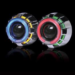 Lente h1 on-line-3inch bi xenon olhos de anjo duplo LED olhos diabo lâmpadas H1 Kit de lente do projetor com H1 / H4 / H7 / 9005/9006 fonte de faróis do carro