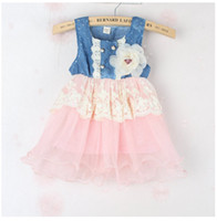 Wholesale Laced Piercing Girl - Fashion 2014 Kids Girls Soft Denim Lace Summer Dresses Baby Girl Princess Dress Lovely Pierced Sleeveless Fashion Vest Dress G0110