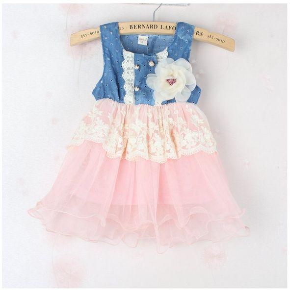 Mode 2014 Enfants Filles Doux Denim Dentelle D'été Robes Bébé Fille Princesse Robe Belle Percé Sans Manches De Mode Vest Robe G0110
