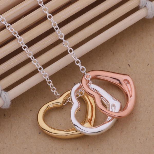 جودة عالية 925 الفضة مطلي القلب قلادة قلادة الأزياء والمجوهرات للنساء هدايا الزفاف الشحن مجانا /