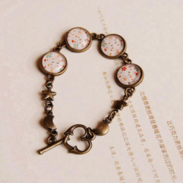 Wholesale Friends Costumes - Cute Small Flowers Print Bracelets for Best Friends Bronze Star Moon Heart Link Handmade Costume Jewelry sl023