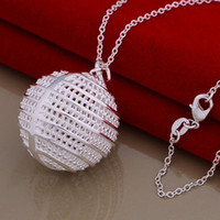 Wholesale Classic Crystal Necklace Hollow Ball - 2014 new 925 silver plated 3D hollow ball pendant necklace fashion classic jewelry to send his girlfriend   wife gifts free shipping 10pcs