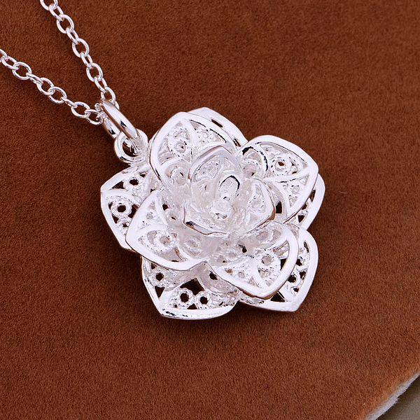 جودة عالية 925 الفضة مطلي زهرة قلادة قلادة الأزياء والمجوهرات هدايا الخطبة للنساء / الشحن المجاني