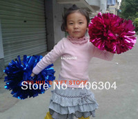 Wholesale Cheer Horns - Free Shipping.50g metallic Pompom,Cheering pom pom with baton handle,red,pink,green,blue.gold ,silver.suitable for children